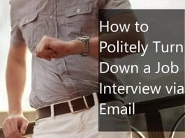 Turning down a job interview via email