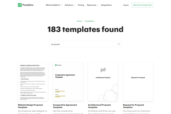 183 proposal templates in Pandadoc library