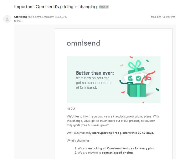 Omnisend review Omnisends pricing is changing notification mail 600x542 1
